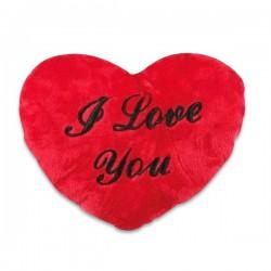 Coussin peluche en forme de cœur I Love You