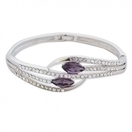Bracelet argenté 5 branches et faux cristal violet