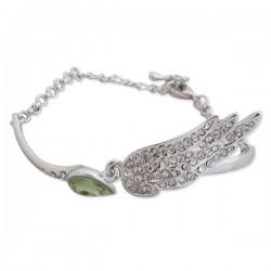 Bracelet argenté avec faux cristal vert et aile avec strass