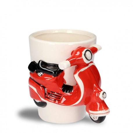Tasse en céramique avec scooter rouge 3D