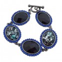 Bracelet 5 faux cristaux noirs et strass bleus