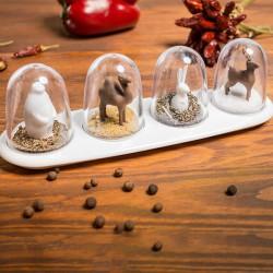 Distributeurs d'épices animaux avec plateau