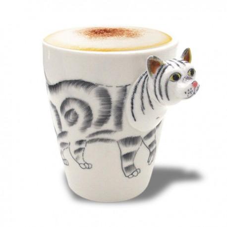 Tasse à motif chat en 3D