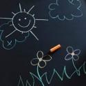 Sticker mural tableau noir et craies