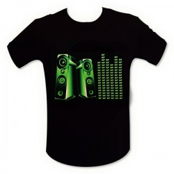 T-shirt noir enceinte mur de son LED
