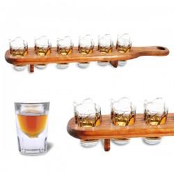 Plateau de service en bois 6 verres shooter