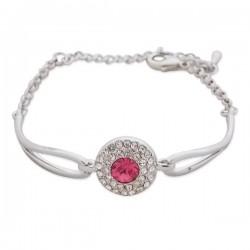Bracelet fantaisie argenté cercle de strass et faux cristal rose