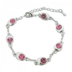 Bracelet fantaisie aspect argenté aux faux cristaux roses