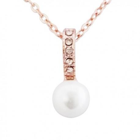 Collier aspect doré à pendentif brillant au strass serti d'une perle nacrée