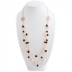 Sautoir couleur or aux fleurs et perles noires et blanches