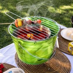 Barbecue seau en acier avec grille