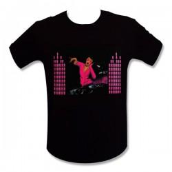 T-shirt Dj femme rose LED