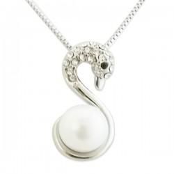Collier argenté cygne avec perle nacrée