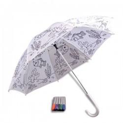 Parapluie à colorier motif poissons et feutres