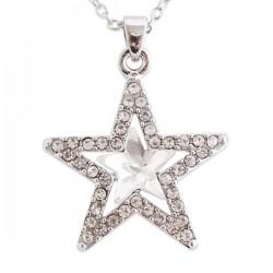 Collier argenté en étoile de strass