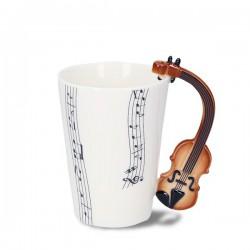Tasse musique en porcelaine anse violon