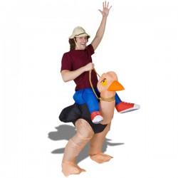 Costume aventurier sur autruche gonflable