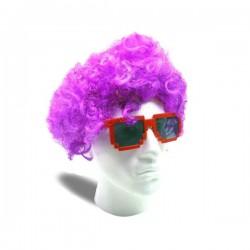 Perruque afro couleur violette