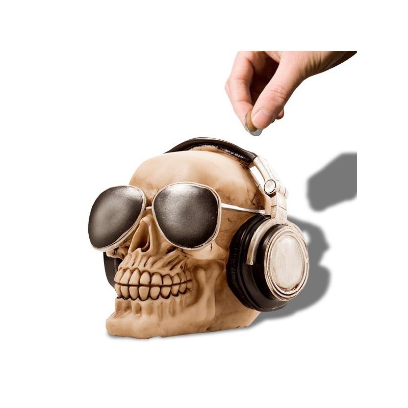 Tirelire cr ne avec casque audio et lunettes de soleil - Porte casque audio ...