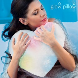 Coussin peluche en forme de cœur blanc lumineux