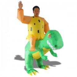 Costume Cro-Magnon à dos de dinosaure gonflable