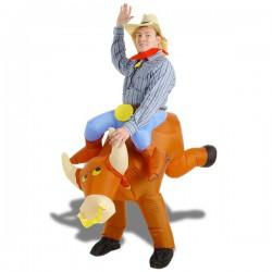 Déguisement gonflable toréro à dos de taureau