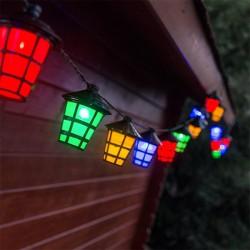 Longue guirlande à 20 lampions à lumières LED colorées