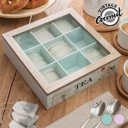 Boîte à thés en bois déco vintage
