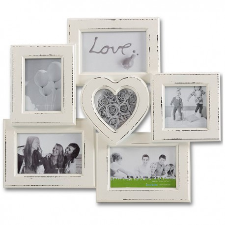 Cadre 6 photos effet vintage dont un cœur