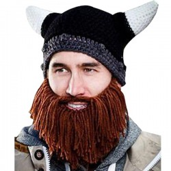 Bonnet crochet Viking avec barbe marron