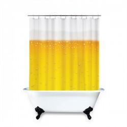 Rideau de douche en forme de bière à bulles et mousse