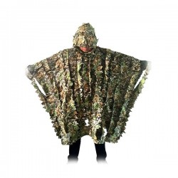 Poncho en polyester camouflage imitation feuilles mortes