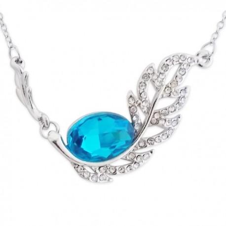 Collier pendentif feuille strass et faux cristal bleu turquoise