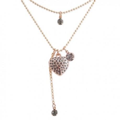 Collier double chaîne cœur et fausses petites pierres