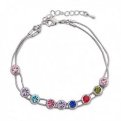 Bracelet argenté décoré de cristaux colorés