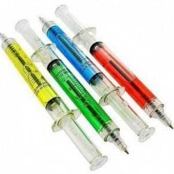 Stylo à bille en forme de seringue colorée