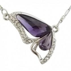 Collier pendentif papillon fausse pierre violette