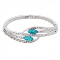 Bracelet argenté 5 branches strass et faux cristal turquoise