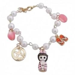 Bracelet fantaisie perles blanches nacrées et chinoise