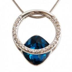Collier pendentif anneau strass et fausse pierre précieuse