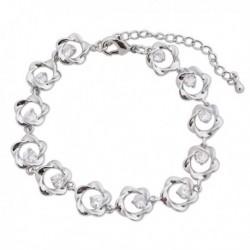 Bracelet petites fleurs argentées et faux diamants blancs