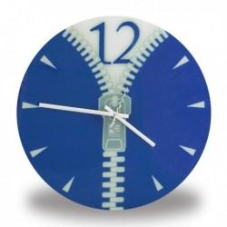 Horloge murale zip bleue