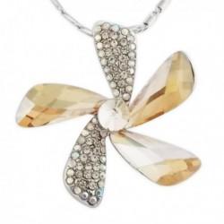 Collier pendentif fleur strass et fausses pierres dorées