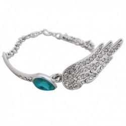 Bracelet argenté à strass et faux cristal bleu turquoise