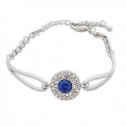 Bracelet argenté avec pastille à strass et faux cristal bleu
