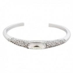 Bracelet rigide semi-ouvert argenté à strass et faux cristal blanc
