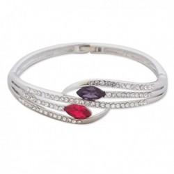 Bracelet argenté à strass et faux cristaux magenta et violet