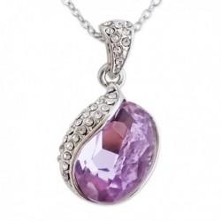 Collier à pendentif strass et fausse pierre violette