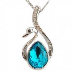 Collier argenté avec pendentif en forme de cygne avec pierre bleu turquoise