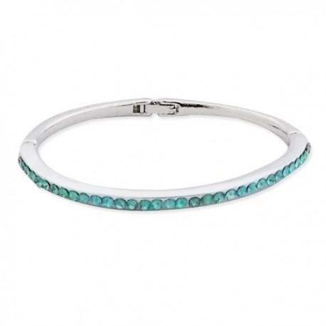 Bracelet fin rigide argenté à strass bleu